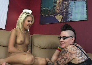 Cute Aubrey Addams gets her pussy treated by a freaky punk chick