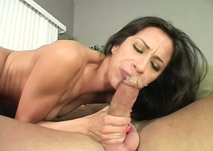 Kinky babe Monica wants to smack her own snatch on this large cock