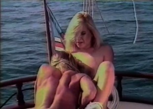 Gorgeous cuties head out on a boat for some intense lady loving