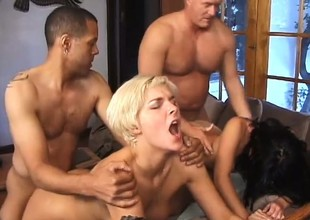 Summer Nite and Dani Woodward give ole Dick Nasty and friend their holes to fuck