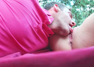 Teen lady is having some sex in the forest