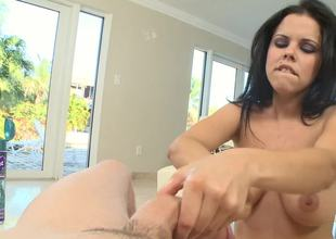 Raven haired princess loves to stroke a really large pecker