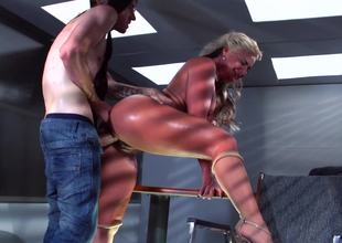 Curvy blonde MILF goddess with thick boobs gets nailed so damn hard