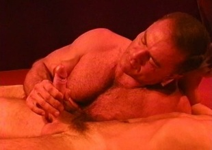 Muscle bear kissing and blowjob heat up for CBT session