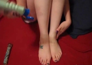 Naughty legal age teenager plays with her feet