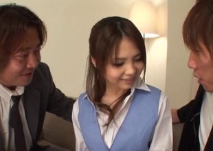 Japanese office lady has her hairy cunt fucked by two sleazy men