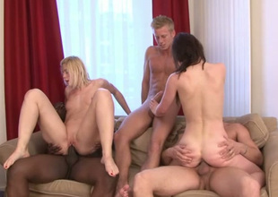 Wang vitalized strumpets Samantha, Cathy and Evelina are ready for swinger fuck