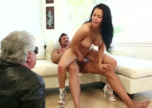 Missionary fuck and awesome cock ride with gorgeous big breasted brunette