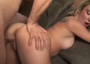 Pulling one let up blond head Amy Brooke gets poked in sideways pose