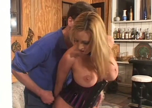 Kinky super busty blond cowgirl is fond of riding stiff dick