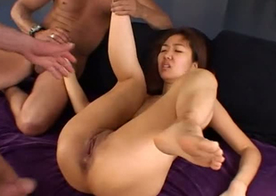 Skinny Asian strumpet screwed in all of her taut holes
