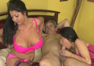 Breasty strumpets Nadia Night and Miya Monroe eruption hard dick jointly