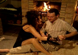 Sexy as fire brunette barb mommy Alison  sucks sugary cock near the fireplace