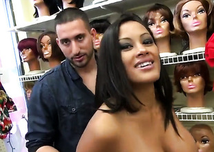 With huge breasts and trimmed bush has a great time playing with mans cum loaded dick