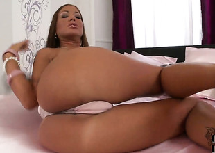 Brunette Angelica Heart touching her love hole