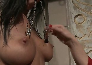 Grey Katy Parker with big jugs gets her fuck hole attacked by lesbian Chanels tongue