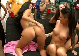 Brunette Jada Stevens with large plunder and shaved snatch suggests her snatch to lesbian Ava Addams