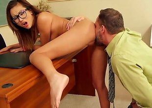 Alina Li is a sexy Asian chick with glasses and a tight pussy waiting to get rammed by her teacher as a punishment for not doing her homework and being a bad student.