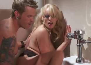 Fine looking big boobed golden-haired MILF Stormy Daniels gives swell up job on her knees and gets her constricted fuck hole banged damn hard in the bathroom. Stacked Stormy Daniels likes hardcore sex