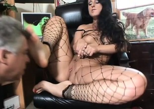 Luscious Lopez uses her lovely lips and her sexy feet to please a cock