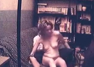 Tow-haired beauty has oral, masturbation, doggystyle and cowgirl sex with creampie on the sofa and moans loud.