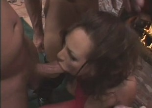Floosie in a red body stocking gets wrecked by a group of rough dudes