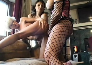 A big group of lesbos get rough and nasty on each other's pussies