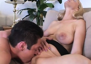 Blond MILF Nicole Moore is proficient at giving blowjobs and getting banged