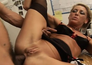 Nasty blond secretary feeds her excitement for jet wang in the office